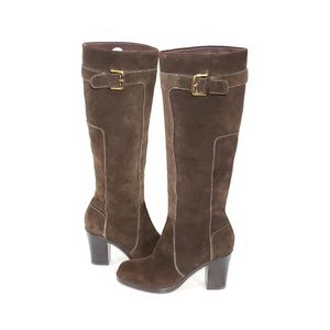 Via Spiga Tall Boots Womens Round Toe Buckle Brown
